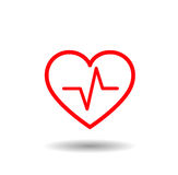 Medical icon. Red lined heart with beat, pulse inside Royalty Free Stock Photography