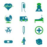 Medical Icon Set. Illustration of set of medical icon on plane white background Stock Photography