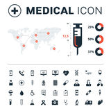 Medical icon set with big syringe and world map on white background. Vector Stock Photography