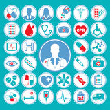 Medical  icon set in colorful red & blue theme Stock Photo