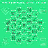Medical icon set. Family health care and medical icon set. pharmacy, medicine, medical equipment and services vector line icons. Infographic elements for web Royalty Free Stock Photography