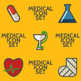 Medical icon set. With five elements on yellow background Stock Photo