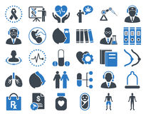 Medical Icon Set. These flat bicolor icons use smooth blue colors. Vector images are  on a white background Royalty Free Stock Photo