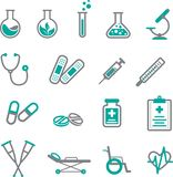 Medical icon set in gray and teal royalty free illustration