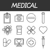 Medical icon set. Icons set of medical tools and health care equipment, science research and health treatment service. Modern design style collection. Pharmacy Stock Photo