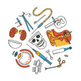 Medical icon set, outline vector illustration, white background. Ear, scissors, eye, injection, brain, skull, bone. Medical icon set, outline vector illustration Royalty Free Stock Images