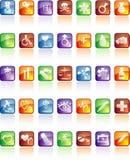 Medical icon set with reflection Stock Image