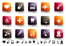 Medical Icon Set | Warm High Gloss. A collection of 15 medical and healthcare icons in high gloss finish royalty free illustration