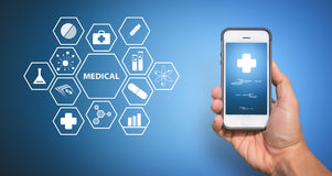 Medical icon from smart phone Royalty Free Stock Photo