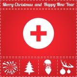 Medical Icon Vector. And bonus symbol for New Year - Santa Claus, Christmas Tree, Firework, Balls on deer antlers royalty free illustration