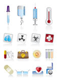 Medical icons. Collection of  medical themed icons and warning-signs Stock Image
