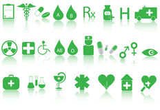 Medical icons. Illustration of medical icons and shadow stock illustration