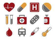 Medical Icons. Vector illustration of 12 different medical icons, red and orange color scheme Royalty Free Stock Image