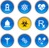 Medical icons. Medical glossy icons. Circle buttons vector illustration