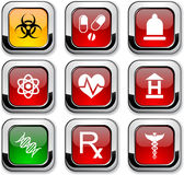 Medical icons. Medical glossy icons. Set of buttons vector illustration