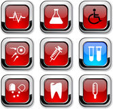 Medical icons. Medical glossy icons. Set of buttons stock illustration