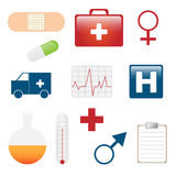 Medical icons. Set of twelve medical icons isolated on white background.EPS file available Stock Images