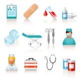 Medical icons. Set of 12 medical icons on white background Stock Photography