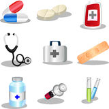 Medical icons. A  illustration of a set of medical icons Royalty Free Stock Photo