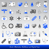 Medical icons. Blue medical and healthcare icons stock illustration