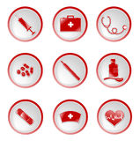 Medical icons. Set of glossy medical icons in round frames Royalty Free Stock Images