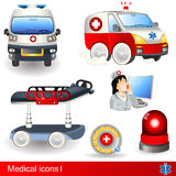 Medical icons. Set 1, six different illustrations Royalty Free Stock Image