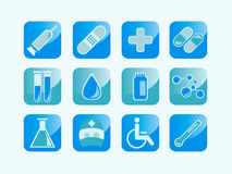 Medical icons. A collection of 12 medical icons and symbols Stock Photos