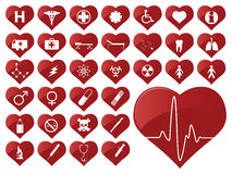 Medical icons. Medical icon collection in heart shapes Stock Photos