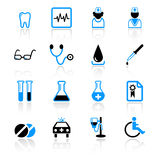 Medical icons. Set of 16 medical icons on white background royalty free illustration