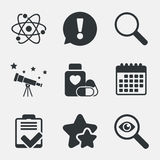 Medical icons. Atom, magnifier glass, checklist. Stock Photography