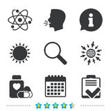 Medical icons. Atom, magnifier glass, checklist. Royalty Free Stock Image