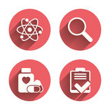 Medical icons. Atom, magnifier glass, checklist Stock Images