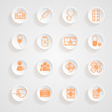 Medical Icons  button shadows Royalty Free Stock Photo