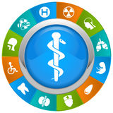Medical icons. In a circle with beautiful colors Royalty Free Stock Images