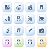 Medical icons on color buttons. Stock Photos