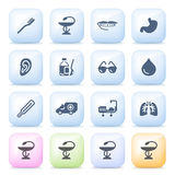 Medical icons on color buttons. Vector icons set for websites, guides, booklets Royalty Free Stock Image