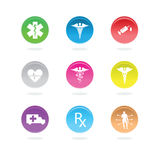Medical icons in color circles Royalty Free Stock Image