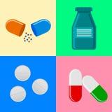 Medical icons on colorful  background. Flat design illustration Stock Photos