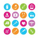 Medical icons. In colorful round buttons Stock Images