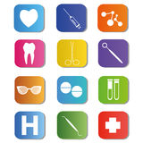 Medical icons colors Royalty Free Stock Photos