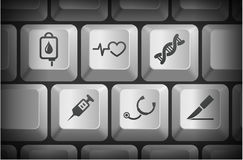 Medical Icons on Computer Keyboard Buttons Royalty Free Stock Image
