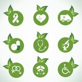 Medical icons and design with green leaf Royalty Free Stock Image