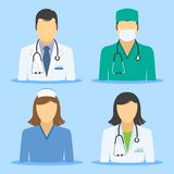 Medical icons. Doctor and nurse avatars royalty free stock photography