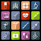 Medical icons flat. Medical emergency first aid care icons flat set with syringe heart vaccine isolated vector illustration Royalty Free Stock Photos