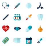Medical Icons Flat Set. With syringe stethoscope bandage  vector illustration Royalty Free Stock Image