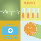 Medical icons. Four different medical icons on different colored backgrounds Stock Photography