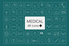 48 Medical icons. With frames on green background vector illustration royalty free illustration