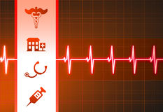 Medical Icons on Heart Rate Pulse Background Stock Image