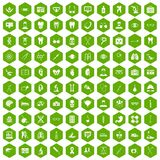 100 medical icons hexagon green. 100 medical icons set in green hexagon isolated vector illustration Stock Photos