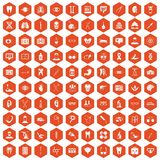 100 medical icons hexagon orange. 100 medical icons set in orange hexagon isolated vector illustration Stock Image